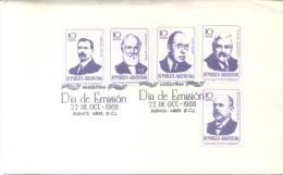 HOMBRES DE CIENCIA FDC 1966 ENVELOPE SERIE COMPLETA COMPLETE SET LUIS AGOTE FRANCISCO J. MUÑIZ JUAN BAUTISTA AMBROSETTI