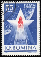 "ROMANIA - Scott #C135 Start Of ""Luna 4"" (*) / Used Stamp - Airmail"