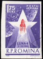 ROMANIA - Scott #C136a Start Of Luna 4 (*) / Used Imperf. Stamp - Airmail