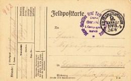 """Jäger-Bataillon Graf York V. Wartenburg + TàD K.D.FELDPOSTEXPEDITION / 9. KAVALL- / DIVIS. Du 24.6.(15) Sur Feldpostka - Marcophilie (Lettres)"