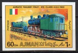 Ajman Mi. 1201B Geschnitten  Dampflok Adriarailway Italien  **/MNH - Treni
