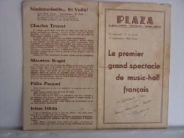 PROGRAMME Spectacle M.ROGET Du PLAZA à TOULOUSE En Date 11 Au 17/09/1940 Avec CHARLES TRENET - Programmes
