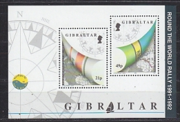 Gibraltar 1992 Round The World Rally  M/s ** Mnh (F4828) - Gibraltar