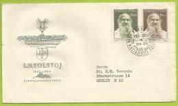 Tchécoslovaquie 1953 744 à 745 FDC Léon Tolstoï écrivain Tableau Du Peintre Russe Repin - FDC
