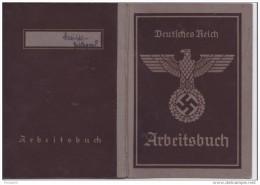 ALLEMAGNE NAZIE LIVRET DE TRAVAIL COMPLET (38 PAGES) DE 1941 A 1943,EMBLEMES EN FILIGRANES, ETAT TTB - Documents Historiques