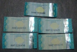 KOSOVO TOBACCO REVENUES, FIRST EDITION (x5), RARE, USED. - Tabac (objets Liés)