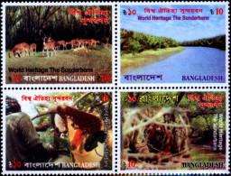 BANGLADESH-WORLD HERITAGE-TIGER RESERVE-THE SUNDERBANS-SETENANT BLOCK OF 4-MNH-B3-513 - Bangladesch