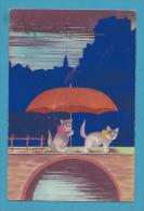 CPA Fantaisie Chat Cat Katze Parapluie Bonne Année - Katten