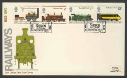 Great Britain 1975 FDC Mi 682 /5 YT 760 /3 Sc 749 /2 - 150th Ann. Public Railways – Postmark : Shildon – 13 Aug 1975 - FDC