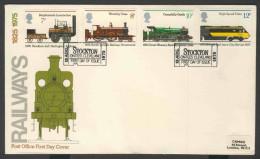 Great Britain 1975 FDC Mi 682 /5 YT 760 /3 Sc 749 /2 - 150th Ann. Public Railways – Postmark : Stockton – 13 Aug 1975 - FDC