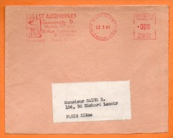 PARIS  SUD EST AUTOMOBILES  SIMCA  1961 Devant De Lettre  N° EMA 2142 - Marcophilie (Lettres)