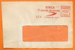 PARIS    SIMCA    71 RECORDS DU MONDE 1961 Devant De Lettre  N° EMA 2143 - Marcophilie (Lettres)