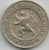 Belgen, Leopold II Koning, 10 Centiemen 1901, Eendracht Maakt Macht. - Monnaies