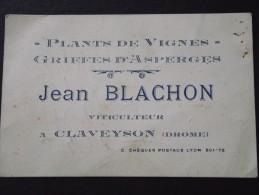 CLAVEYSON (Drôme) - Carte De Visite - Jean BLACHON, VITICULTEUR - Plants De Vignes - Asperges - Vigne, Oenologie - Cartes De Visite