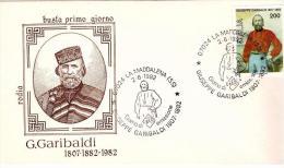Fdc Rodia: GARIBALDI (1982);no Viaggiata; AS_Maddalena - 6. 1946-.. Repubblica