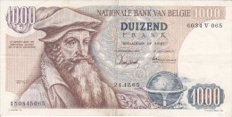 BILLETE DE BELGICA DE 1000 FRANCOS DEL 21-12-1965 DE MERCATOR  (BANKNOTE) - [ 2] 1831-... : Reino De Bélgica
