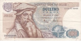 BILLETE DE BELGICA DE 1000 FRANCOS DEL 26-01-1973 DE MERCATOR  (BANKNOTE) - [ 2] 1831-... : Belgian Kingdom