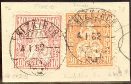 Heimat LU Hizkirch 1882-01-04 Auf Briefstk. Zu#46+48 Sitzende - 1862-1881 Helvetia Assise (dentelés)