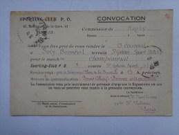 Réf: 86-16-13.         PARIS   SPORTING-CLUB  P. O.  Convocation  Contre  SAINT-GOBAIN-SPORT - Rugby