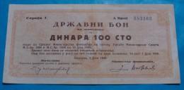 SERBIA 100 DINARA BON 1943 XF, RARE. - Serbia