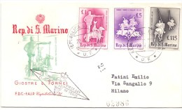 S. MARINO RIDES TOURNAMENTS FIRST DAY OF ISSUE   (franc0178) - FDC