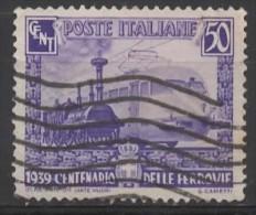 ITALY 1939 Centenary Of Italian Railways - 50c  Steam Locomotive And ETR 200 Express Train  FU - Used