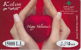"LEBANON - Happy Valentine""s, Kalam Prepaid Card 15000LL, Exp.date 31/12/10, Used"