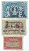 Lot De 3 Billets D´ Allemagne  (2 Scans ) - Germany