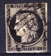 FRANCE CERES 1849 YT N° 3 Obl. GRILLE - 1849-1850 Cérès
