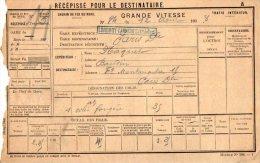 VP2447 - Chemin De Fer Du Nord - Récépissé Pour Le Destinataire - Gare De LONGROY - GAMACHES Pour PARIS - Titres De Transport