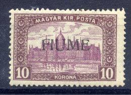 FIUME 1918 Parliament 10 Kr Handstamp Overprint MNH / **.  Michel 25 II - 8. WW I Occupation