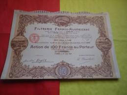 FILTRERIE FRANCO-ALGERIENNE (100 Francs,capital 10 Millions) 1928 - Unclassified