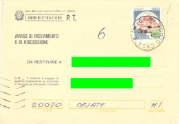 J409) AVVISO RICEVIMENTO AFFRANCATO CON CASTELLI IN TARIFFA - 1981-90: Storia Postale