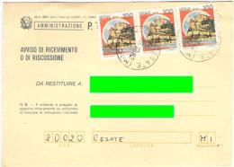 J468) AVVISO RICEVIMENTO AFFRANCATO CON CASTELLI IN TARIFFA - 1981-90: Storia Postale