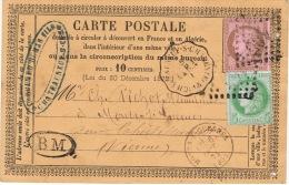 1875 C.P. Avec N° 53 + N° 54 + Convoyeur De Station CHATEAUNEUF-s-CHARENTE LA R/ - 1871-1875 Cérès