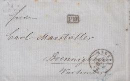 BELGIEN  PD Brief Anvers 19.JAN 1867 Mit Bahnpost Verviers-Coeln 20.1. Und K.Württ. Fahrend.Postamt 120.1. (Z.) 13 - 1866-1867 Petit Lion (Kleiner Löwe)