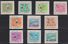 Ras Al Khaima 1965 Sports Set Of 10 Imperforates. Michel 37-46. MNH. - Ra's Al-Chaima