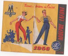 CALENDRIER - ADOLPHE  LAFONT  1956  Lyon - Tampon  Melle VILLETTE   - BRIOUZE - (orne ) - VESPA - Calendriers