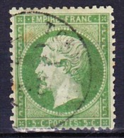 FRANCE NAPOLEON III 1862 YT N° 20a Obl. VERT FONCE - 1862 Napoléon III