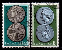 Greece, 1959, Scott #646, 647, Ancient Greek Coins, Used, LH, VF - Greece