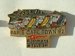 Pin´s PARIS CAPE TOWN 92 - 1er 2 éme 3éme  TEAM ROTHMANS MITSUBISHI - Mitsubishi