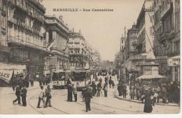 Cpa Marseille, La Cannebière, Très Animée, Tramway - Canebière, Stadtzentrum
