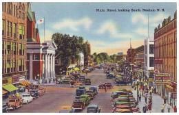 MAIN STREET, LOOKING SOUTH - NASHUA, NEW HAMPSHIRE, USA (Unused Old Linen Postcard) - Nashua