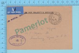 OHMS ( Philatelic Correspondence, Air Mail Cover  Cachet St-John's 1958 Antigua General Antigua Post Mark ) 2 Scans - Antigua & Barbuda (...-1981)