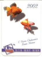 Pocket Calendars  Russia - 2002 - Aquarium Fish - Packing - Advertising - Calendarios