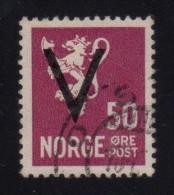 """NOR SC# 218   1941 """"V"""" Overprint On 50ore Lion W/cert, CV $750.00(I) - Norway"""