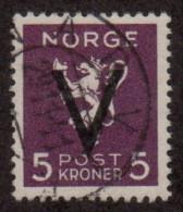 """NOR SC# 238   1941 """"V"""" Overprint On 5Kr Lion, """"Narvik"""" Cancel, W/cert, CV $150.00(I) - Norway"""