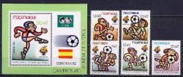 Mozambique 1982 Football Soccer World Cup Set Of 5 + S/s MNH - Wereldkampioenschap