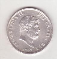 22-Regno Delle Due Sicilie-Ferdinando 2° Di Borbone-120 Grana 6°tipo-1857-Moneta Originale In Argento-Spl.-quasi F.d.c. - Monnaies Régionales