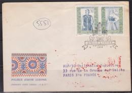 =Enveloppe Pologne 2 Timbres Non Dentelés Se Tenant Varsovie 18.12.1959, Flamme Verso 5.1.60 - Machine Stamps (ATM)